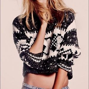 Free People Cropped FairIsle Chunky Sweater